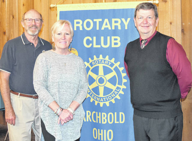 At the Archbold Rotary meeting, from left, Lou Levy, who arranged the program, Carol Tiffany, and Judge Jeff Robinson.