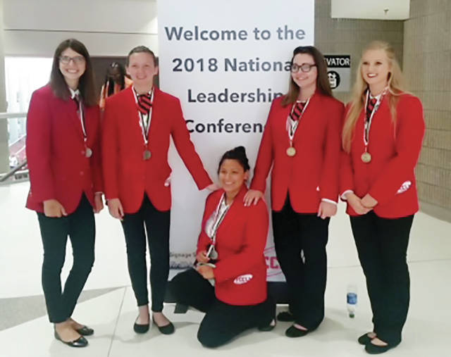 Four County Career Center had five students just return from the Family, Career and Community Leaders of America (FCCLA) 2018 National Leadership Conference in Atlanta, Georgia. Receiving National Silver Medals are, from left: Bailey Bowen (Edgerton), Fashion Construction; Sabrina Page (Liberty Center), Interior Design; and Natalia Flores (Archbold), Life Event Planning. Receiving National Gold Medals and placing fourth in the nation are Coralee Flanary (Hicksville), Job Interview; and Kathryn Ewers (Edon), Interior Design. There were over 5,000 members from across the nation in attendance. Members competed at the district, and state levels before they advanced to the national level. Family, Career & Community Leaders of America is a dynamic and effective national student organization that helps young men and women become leaders and addresses important personal, family, work, and social issues through family and consumer sciences education. Early Childhood Education instructor, Susan Myers and Interior Design instructor, Lisa Hall attended the conference with them.
