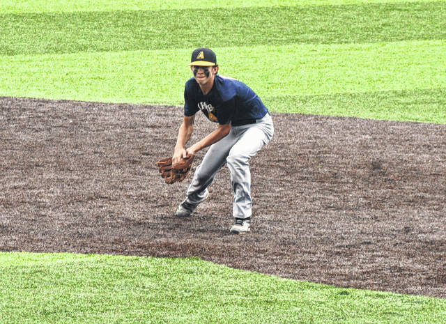 Archbold's Jeron Williams fields a ball at shortstop during the state ACME tournament.