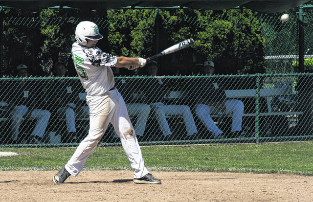 Austin Michaels of Delta bangs a hit Friday versus Napoleon. The Panthers fell to the Wildcats and then Evergreen on Saturday to eliminate them from the ACME sectional tournament.
