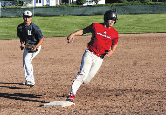 Wauseon's Joe Shema rounds third base and heads home in the bottom of the fifth inning Saturday against Napoleon in the ACME District 3 sectional tournament. The Indians went 3-0 on the weekend to claim a sectional title.