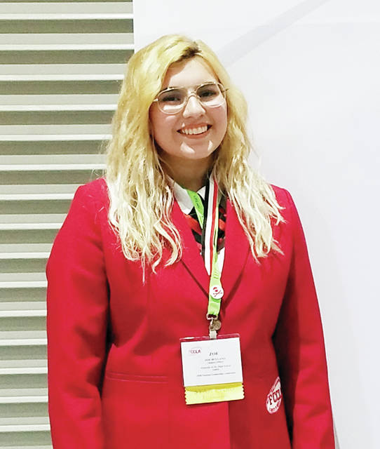 Zoe Bullano, vice-president of the Pettisville Family, Career and Community Leaders of America (FCCLA) chapter, received a silver medal for her project in the Fashion Construction event at the National FCCLA Leadership Conference, held in Atlanta, Ga., June 28- July 3. Bullano used her sewing skills to make a vintage style 1950s dress and created a display board to explain her project. She also served as an assistant leadership consultant for the Illustrated Talk event.