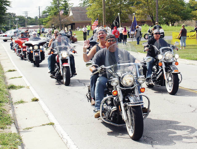 Riders head off for their destinations during the 2017 Battle Buddy Poker Run.