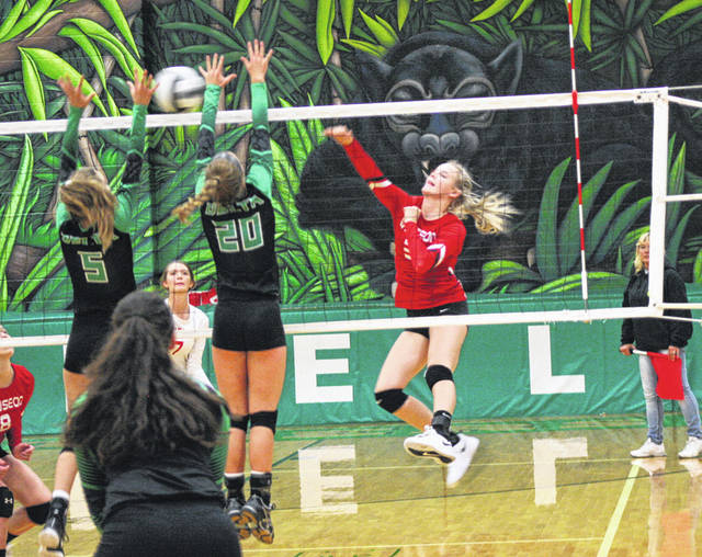 Wauseon's Chelsie Raabe fires one over the net at Delta Tuesday in Northwest Ohio Athletic League play. The Indians swept the Panthers 25-14, 25-22, 25-14.